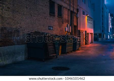 dark alley night Royalty-Free Stock Photo #1046101462