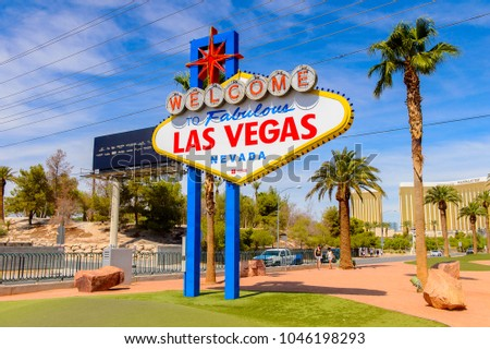 LAS VEGAS, USA - SEPTEMBER 21, 2017: Welcome to the Fabulous Las Vegas sign, U.S. state of Nevada #1046198293