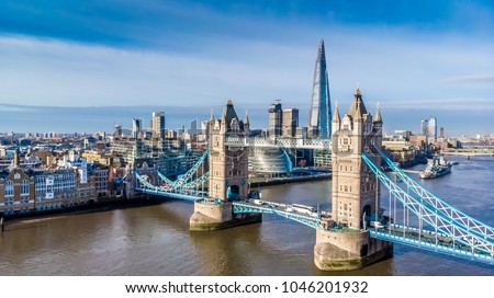 Aerial view on Tower Bridge and Shard in sunny day, London, UK #1046201932