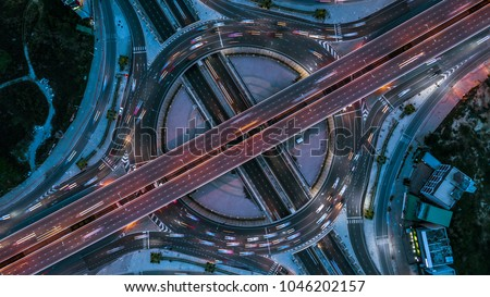 Aerial view interchange of a city, Expressway is an important infrastructure. #1046202157