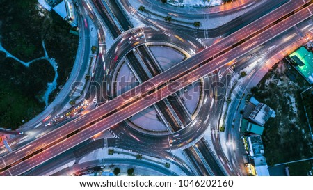Top view over the highway, motorway at night, Expressway is an important infrastructure. #1046202160