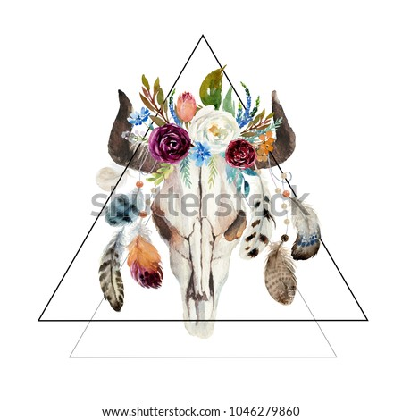 Geometric watercolor floral boho illustration with skull, horns, flowers & feathers - colorful bohemian flower illustration for wedding, anniversary, birthday, invitations, romance. #1046279860