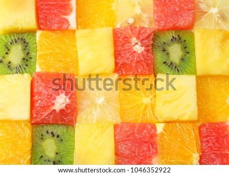 healthy citrus fruit salad background. top view #1046352922