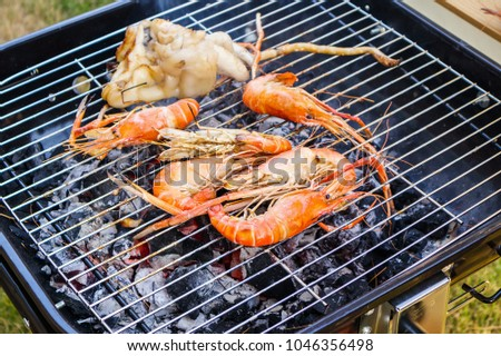Grilled river shrimps #1046356498