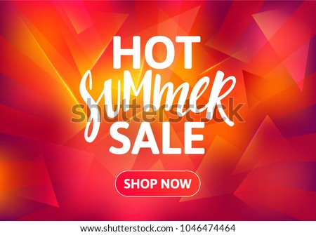 Hot Summer Sale Banner Design. Hand Drawn Text on Bright Colorful Background. Vector Advertising Illustration.