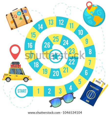 Vector cartoon style illustration of kids travel and tourism board game template. For print. Square composition with spiral game path. #1046534104