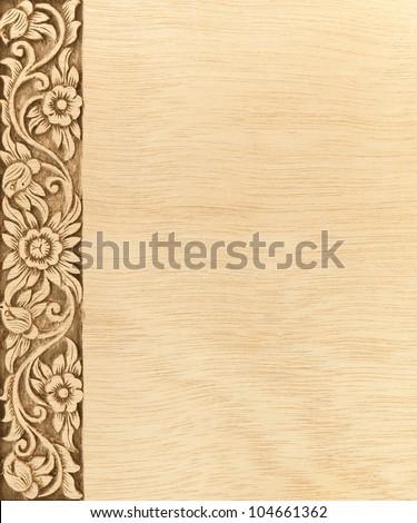 Pattern of wood frame carve flower on wood background #104661362