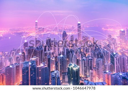 Modern cityscape and linking communication network in violet  tone, communication concept. Royalty-Free Stock Photo #1046647978