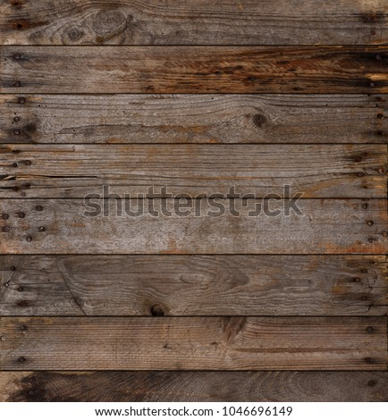 Wooden planks texture background, weathered, with rusty nails, top view, sharp and highly detailed. #1046696149