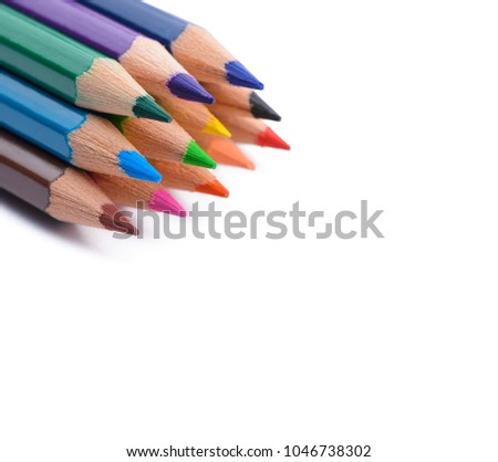 Colour pencils with copy space. Isolated on white background. #1046738302