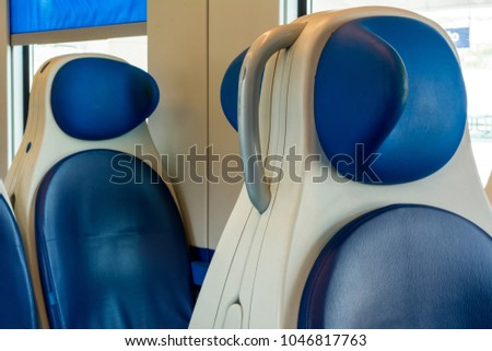 Horizontal View of the Sitting Places of the Interior of a Train Wagon. Taranto, South of Italy #1046817763