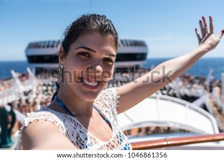 Woman Taking a Selfie on Cruise Ship