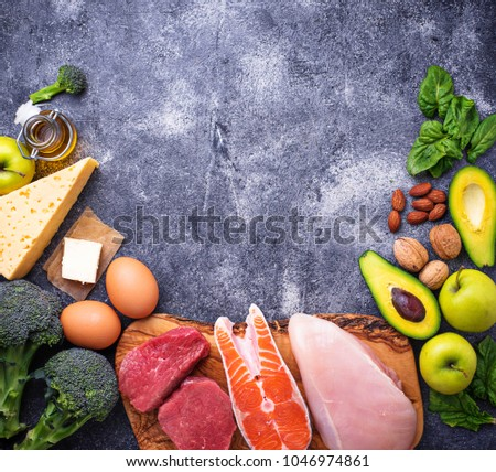 Healthy low carbs products. Ketogenic diet concept. Top view, copy space #1046974861