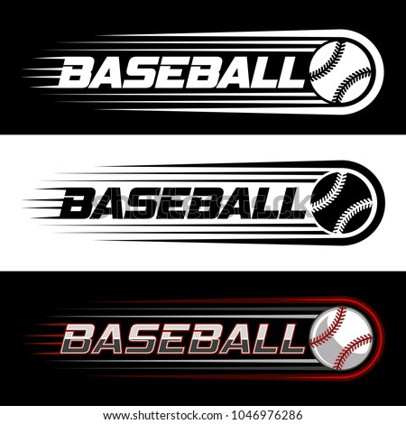 Color vector logo on the theme of baseball with a picture of a baseball ball on black and white background