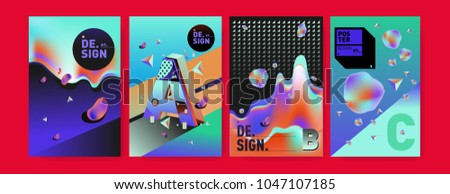 Abstract liquid and geometric colorful background poster and cover design. Blue, yellow, red, orange, pink and green. Vector alphabet poster template in Eps10. #1047107185