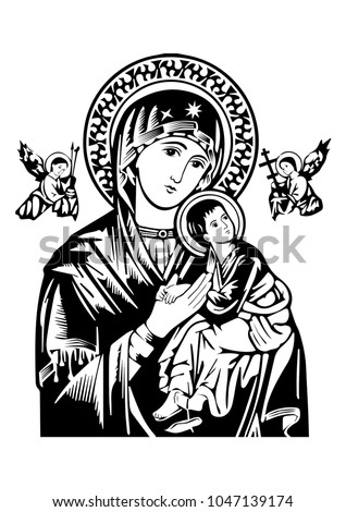 Our Lady of Perpetual Help vector icon virgin Mary Catholic