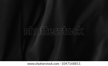black cloth background abstract with soft waves. #1047168811