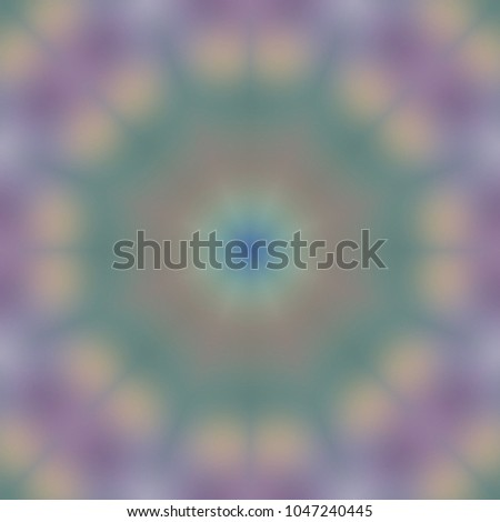 Decorative geometric abstract blur seamless pattern with a kaleidoscope effect. #1047240445