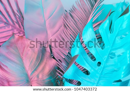 Tropical and palm leaves in vibrant bold gradient holographic colors. Concept art. Minimal surrealism. Royalty-Free Stock Photo #1047403372