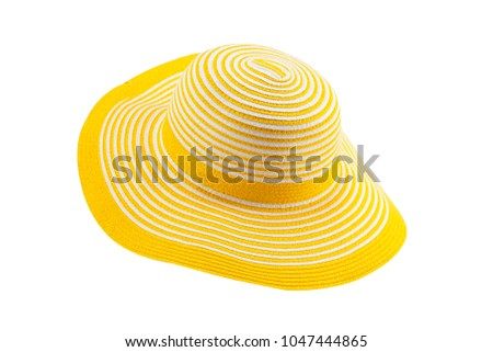 Yellow Sun Hat isolated on white background with clipping path #1047444865
