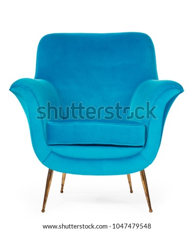 Old antique sixties retro arm chair in blue upholstery #1047479548