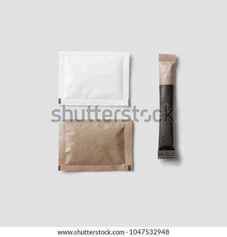 Set of Brown sugar packet on white background isolated Royalty-Free Stock Photo #1047532948