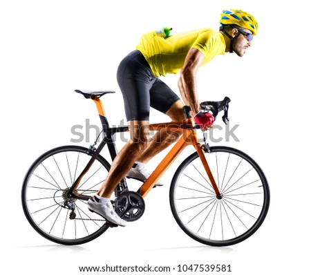 Professinal road bicycle racer isolated on white Royalty-Free Stock Photo #1047539581
