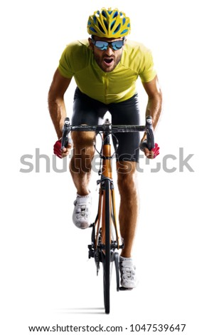 Professinal road bicycle racer isolated in motion on white Royalty-Free Stock Photo #1047539647