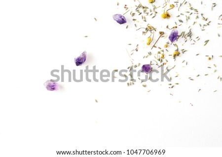 dried herbs on white background