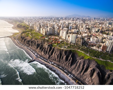 LIMA, PERU: Panoramic view of Lima from Miraflores. #1047718252