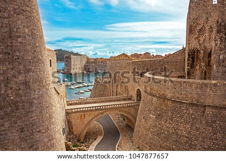 Old town and harbor of Dubrovnik Croatia #1047877657