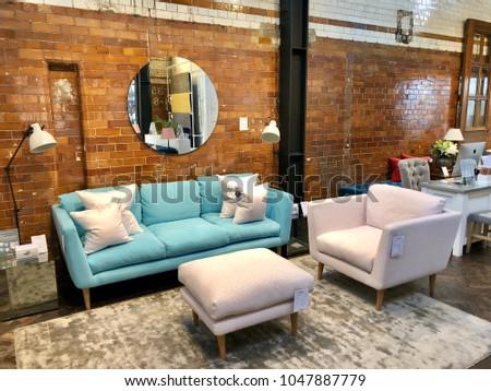 LONDON - FEBRUARY 24, 2018: Sofa.com showroom in Angel, Islington, London, UK. #1047887779