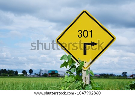301 redirect code, text of number 301 and arrow traffic signs on yellow board. #1047902860