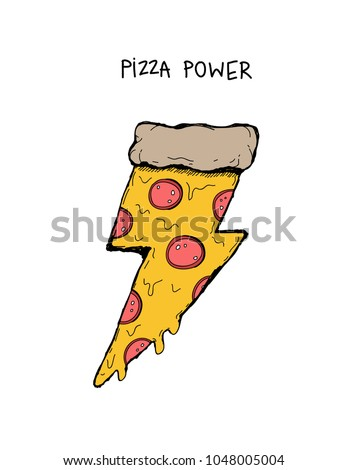 piece of pizza with salami in the shape of lightning, retro style isolated art for summer t-shirts, enamel pin, badges, sweatshirts, hoodies, wall art, boy and girl clothes, stickers