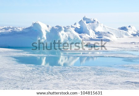 Pressure ridge and melt water at the Geographic North Pole Royalty-Free Stock Photo #104815631
