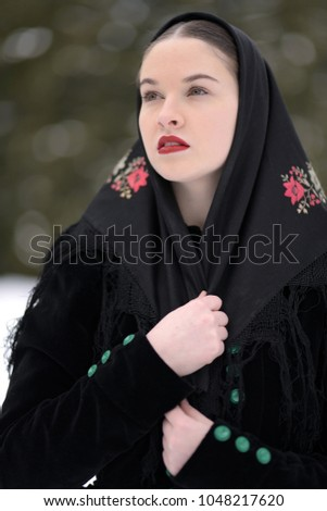 Slovakian folklore woman #1048217620