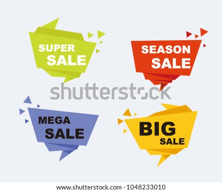Big Sale and discounts set of banners. Geometric shapes, ribbon and origami. EPS 10 Vector illustration #1048233010