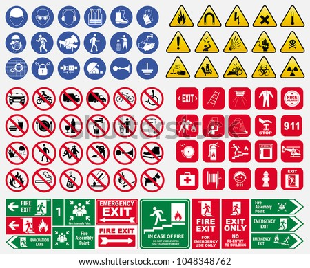 set of mandatory sign, hazard sign, prohibited sign, fire emergency sign. for sticker, posters, and other material printing. easy to modify. #1048348762
