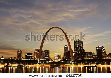 City of St. Louis downtown with Gateway Arch at twilight, Missouri, USA