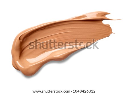close up of beauty liquid powder stroke on white background  #1048426312