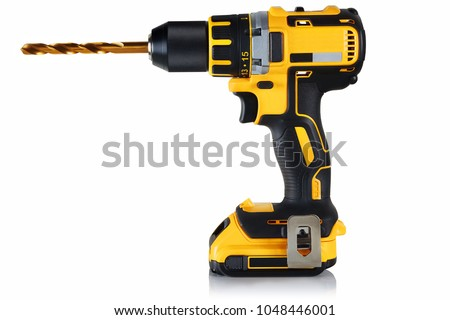 cordless drill, screwdriver with drill bit on white background #1048446001