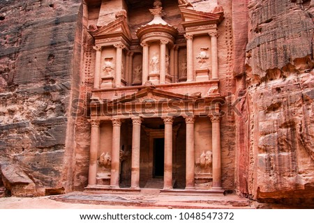 Al-Khazneh (The Treasury), is one of the most elaborate temples in the ancient Arab Nabatean Kingdom city of Petra. #1048547372