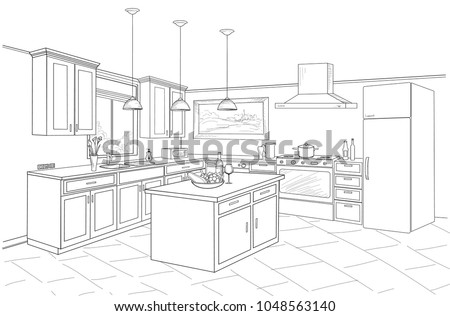 Interior sketch of kitchen room. Outline blueprint design of kitchen with modern furniture and island Royalty-Free Stock Photo #1048563140