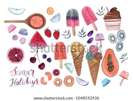 Summer holidays watercolor element set
