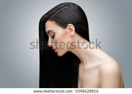 Brunette asian girl with long straight hair Royalty-Free Stock Photo #1048628816