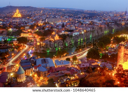 Tbilisi. View of the city at night. #1048640465