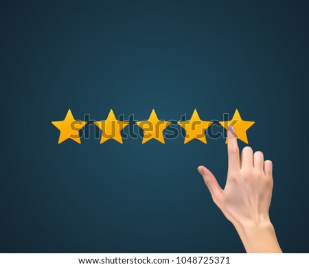 Flat Design Hand with Star Rating.  Evaluation System and Positive Review Sign. Vector Illustration EPS10 #1048725371
