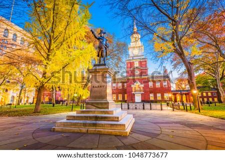 Philadelphia, Pennsylvania, USA at historic Independence Hall during autumn season. #1048773677