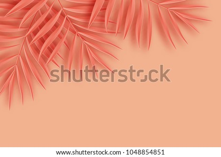 Tropical paper palm leaves frame. Summer tropical leaf. Origami exotic hawaiian jungle, summertime background. Paper cut. Minimal. Pastel art colorful style.