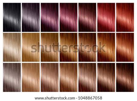 Color chart for hair dye. Hair color palette with a wide range of swatches showing color samples arranged on a card in neat rows. Tints. Hair colour set. Diferent colours.
